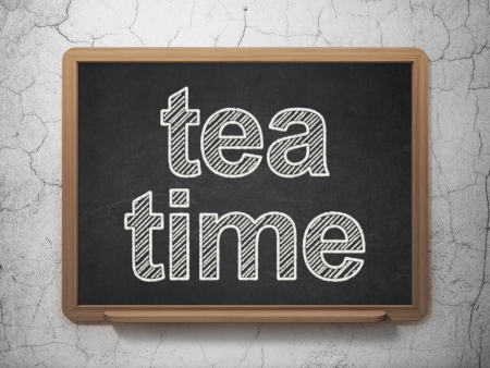 Timeline concept: text Tea Time on Black chalkboard on grunge wall background, 3d render photo