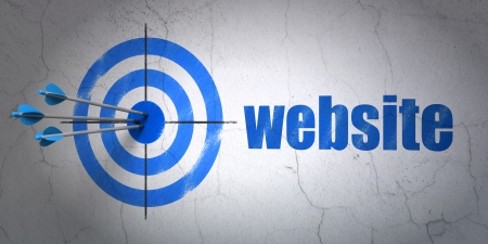 Success web development concept: arrows hitting the center of target, Blue Website on wall background, 3d render photo