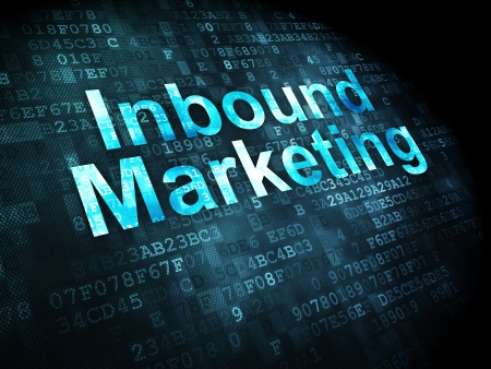 Business concept: pixelated words Inbound Marketing on digital background, 3d render