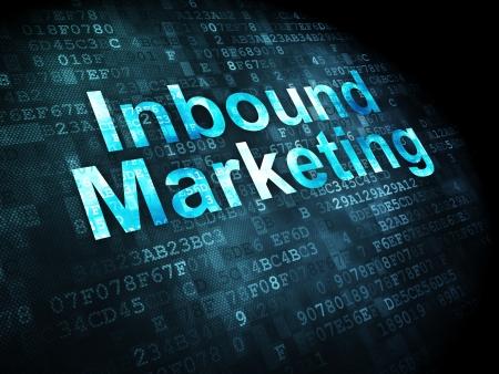 Business concetto: le parole pixelated Inbound Marketing su sfondo digitale, rendering 3d Archivio Fotografico - 23972222