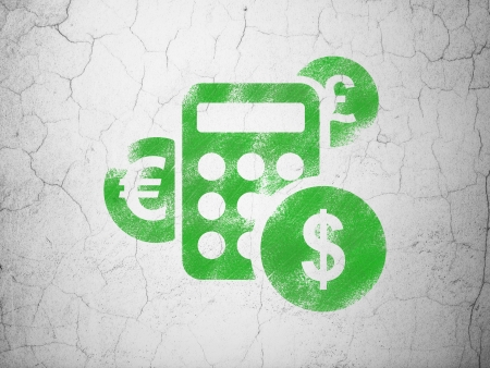 News concept: Green Calculator on textured concrete wall background, 3d render photo