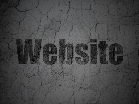 Web development concept: Black Website on grunge textured concrete wall background, 3d render photo