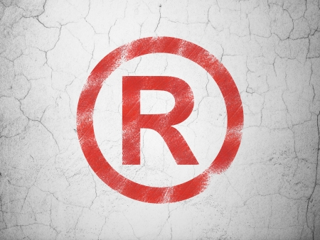 r regulation: Law concept: Red Registered on textured concrete wall background, 3d render Stock Photo