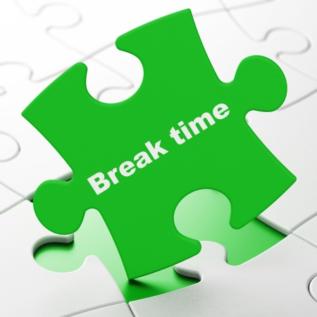 Timeline concept: Break Time on Green puzzle pieces background, 3d render photo