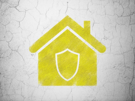 abandoned house: Security concept: Yellow Home on textured concrete wall background, 3d render