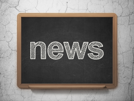 News concept: text News on Black chalkboard on grunge wall background, 3d render photo
