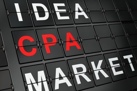 cpa: Finance concept: CPA on airport board background, 3d render Stock Photo