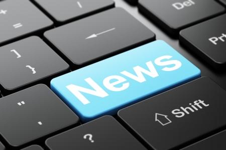 ニュース概念: word で選択したフォーカス ニュースでコンピューターのキーボード入力ボタンの背景、3 d のレンダリング