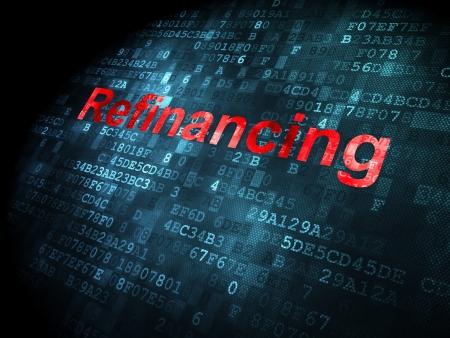 refinancing: Business concept: pixelated words Refinancing on digital background, 3d render Stock Photo