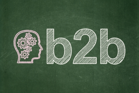 buisnes: Finance concept: Head With Gears icon and text B2b on Green chalkboard background, 3d render