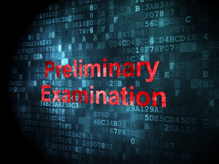 Education concept: pixelated words Preliminary Examination on digital background, 3d render photo