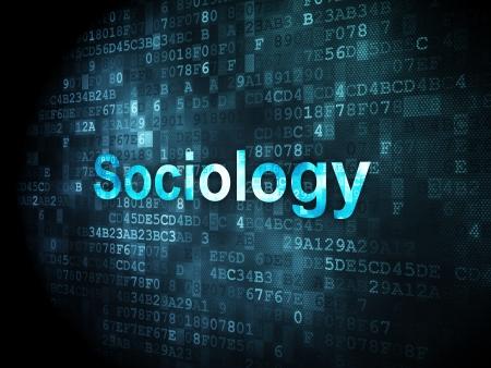 sociologia: Concepto de la educación: las palabras pixelados Sociología en el fondo digital, 3d