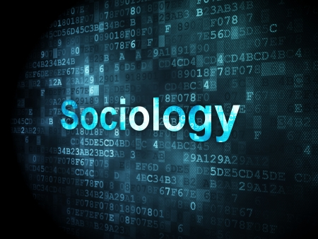 sociology: Education concept: pixelated words Sociology on digital background, 3d render