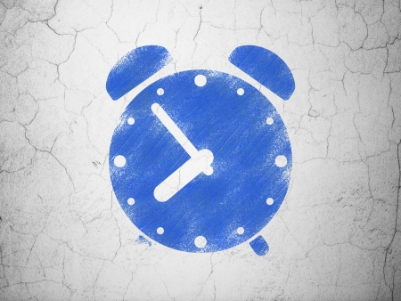Time concept: Blue Alarm Clock on textured concrete wall background, 3d render photo