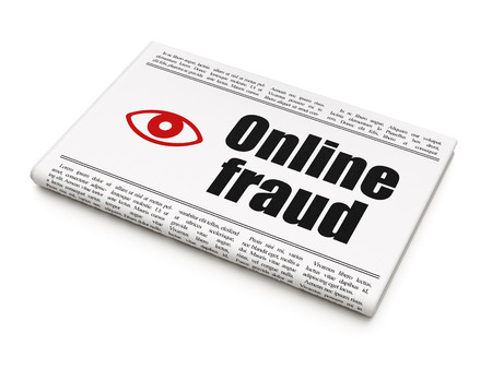 Safety concept: newspaper headline Online Fraud and Eye icon on White background, 3d render photo