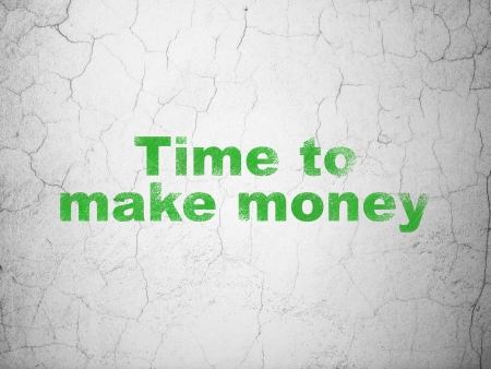 Time concept: Green Time to Make money on textured concrete wall background, 3d render photo