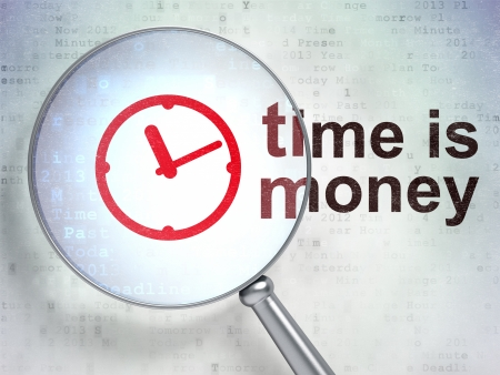 Time concept: magnifying optical glass with Clock icon and Time is Money word on digital background, 3d render photo