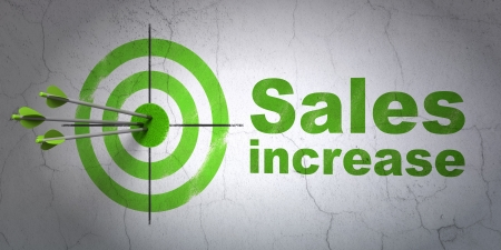 Success marketing concept: arrows hitting the center of target, Green Sales Increase on wall background, 3d render