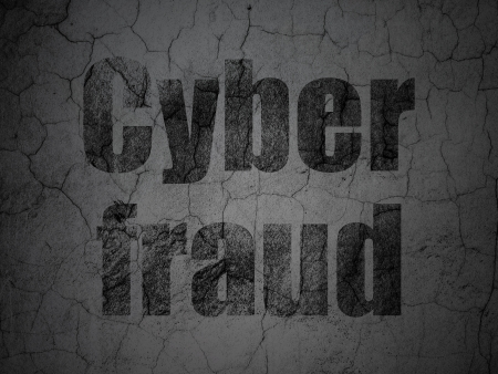 Safety concept: Black Cyber Fraud on grunge textured concrete wall background, 3d render photo