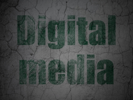 Marketing concept: Green Digital Media on grunge textured concrete wall background, 3d render photo
