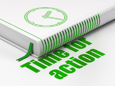 Time concept: closed book with Green Clock icon and text Time for Action on floor, white background, 3d render photo
