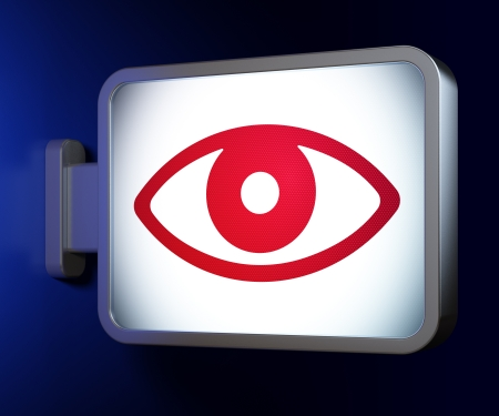 Protection concept: Eye on advertising billboard background, 3d render photo