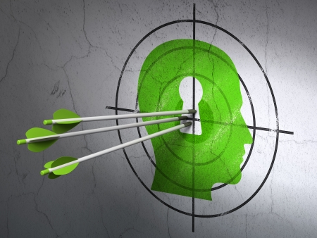 Success Education concept: arrows hitting the center of Green Head With Keyhole target on wall background, 3d render