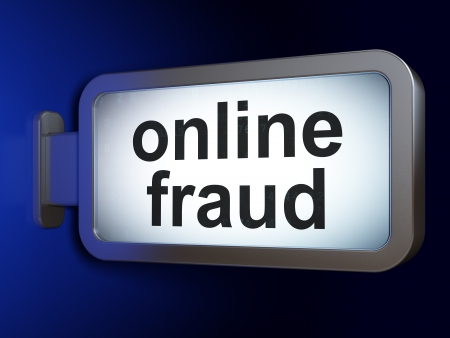 online privacy: Privacy concept: Online Fraud on advertising billboard background, 3d render Stock Photo