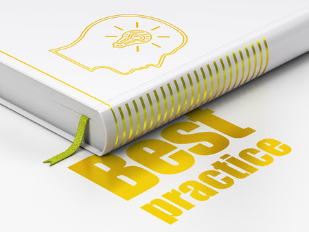Education concept: closed book with Gold Head With Lightbulb icon and text Best Practice on floor, white background, 3d render
