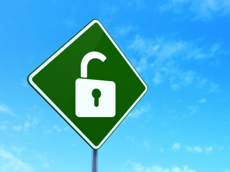 Safety concept: Opened Padlock on green road (highway) sign, clear blue sky background, 3d render photo