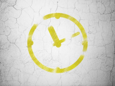 Time concept: Yellow Clock on textured concrete wall background, 3d render photo