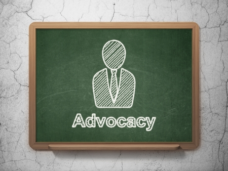 advocacy: Law concept: Business Man icon and text Advocacy on Green chalkboard on grunge wall background, 3d render