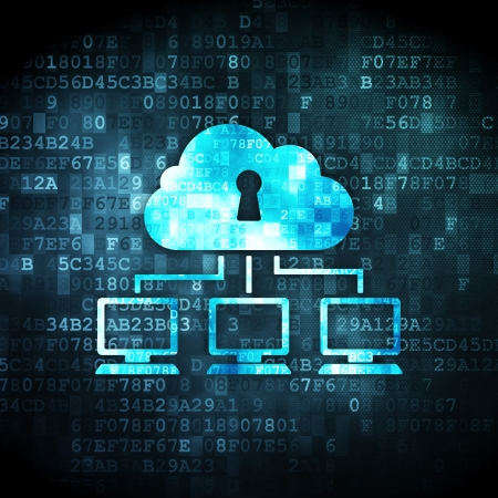 security monitor: Cloud technology concept: pixelated Cloud Network icon on digital background, 3d render