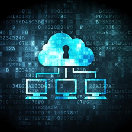 seguro social: Nube concepto de la tecnolog�a: pixelada icono de red de la nube en el fondo digital, 3d Foto de archivo