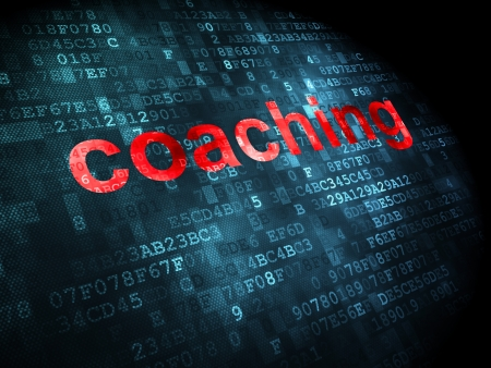 Education concept: pixelated words Coaching on digital background, 3d render photo