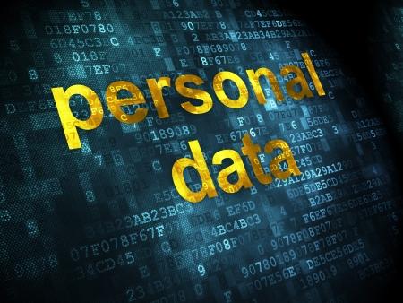 datos personales: Informaci�n de concepto: palabras pixelados de datos personales en el fondo digital, 3d