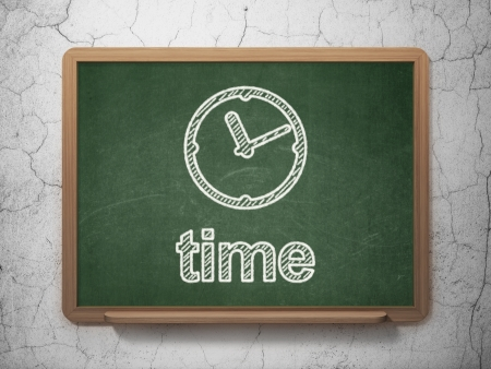 Timeline concept: Clock icon and text Time on Green chalkboard on grunge wall background, 3d render photo