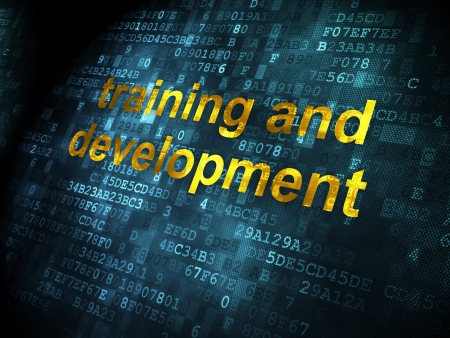 Education concept: pixelated words Training and Development on digital background, 3d render photo
