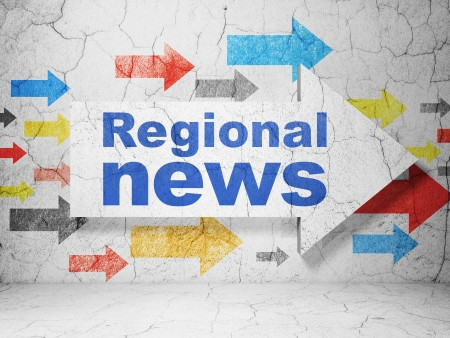 regional: News concept:  arrow with Regional News on grunge textured concrete wall background, 3d render Stock Photo