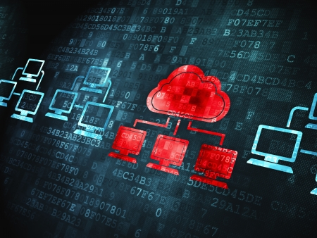 Cloud technology concept: pixelated Cloud Technology icon on digital background, 3d render Stock Photo - 24059266