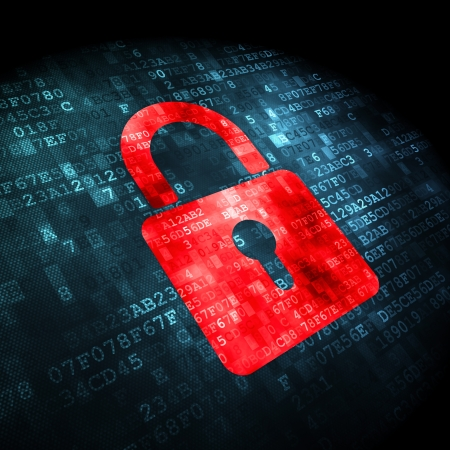 lock symbol: Security concept: pixelated Closed Padlock icon on digital background, 3d render