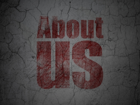 Marketing concept: Red About Us on grunge textured concrete wall background, 3d render photo