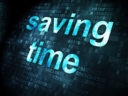 cronologia: Concepto del tiempo: las palabras pixelados ahorro de tiempo en el fondo digital, 3d