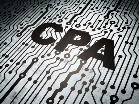 cpa: Finance concept: circuit board with  word CPA, 3d render Stock Photo