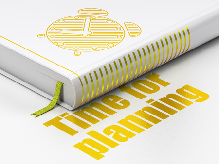Timeline concept: closed book with Gold Alarm Clock icon and text Time for Planning on floor, white background, 3d render photo