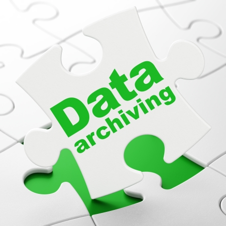 Data concept: Data Archiving on White puzzle pieces background, 3d render photo