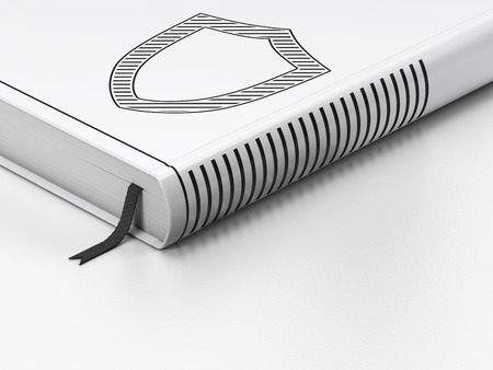 contoured: Concepto de seguridad: Libro cerrado con Shield contorneada Negro icono en el piso, fondo blanco, 3d