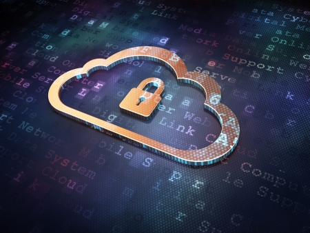 Cloud networking concept: Golden Cloud With Padlock on digital background, 3d render Stock Photo