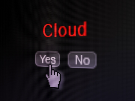 Cloud networking concept: buttons yes and no with pixelated word Cloud and Hand cursor on digital computer screen, selected focus 3d render photo