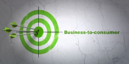 Success business concept: arrows hitting the center of target, Green Business-to-consumer on wall background, 3d render photo